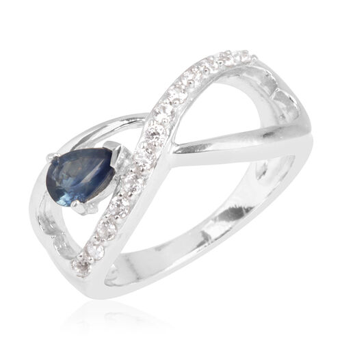 Kanchanaburi Blue Sapphire (Pear 0.75 Ct), Natural Cambodian Zircon Ring in Rhodium Plated Sterling Silver 1.000 Ct.