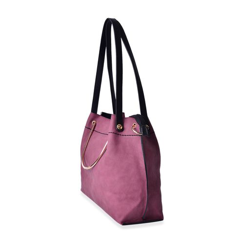 Winter Red Colour Gold handle Tote Bag with Shoulder Strap (Size 33x28.5x11 Cm)
