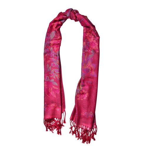 Designer Inspired- Magenta, Pink and Multi Colour Floral Pattern Scarf with Tassels (Size 170X68 Cm)