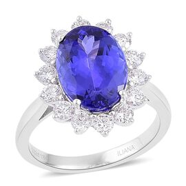 ILIANA 18K White Gold AAA Tanzanite (Ovl 5.25 Ct), Diamond (SI/G-H) Halo Ring 6.250 Ct. Gold Wt 5.40 Grams