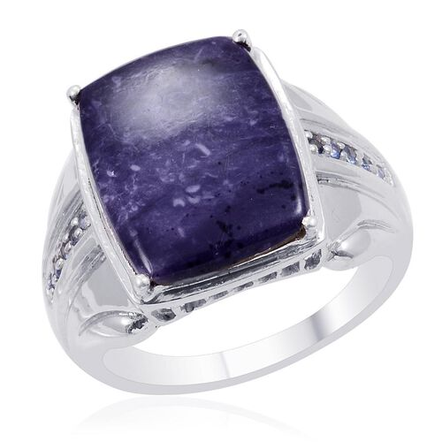 Designer Collection Utah Tiffany Stone (Cush 14.25 Ct), Kanchanaburi Blue Sapphire Ring in Platinum Overlay Sterling Silver 14.450 Ct.