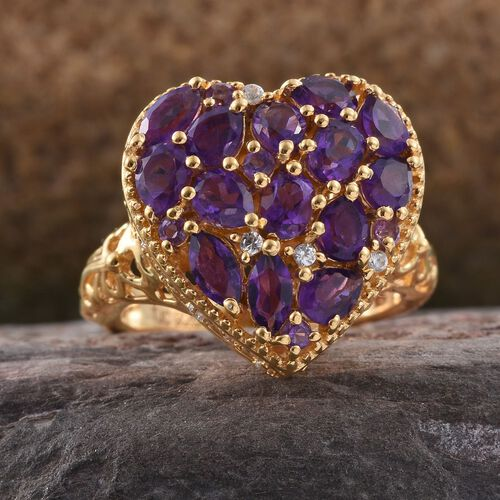 GP Amethyst (Ovl), Natural Cambodian Zircon and Kanchanaburi Blue Sapphire Heart Ring in 14K Gold Overlay Sterling Silver 2.500 Ct.