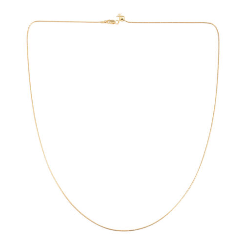 Vicenza Collection 14K Gold Overlay Sterling Silver Adjustable Diamond Cut Snake Chain (Size 24), Silver wt 4.30 Gms.
