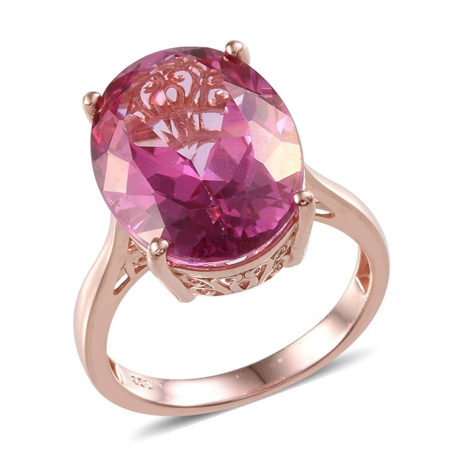 Mystic Pink Coated Topaz Ovl Ring In Rose Gold Overlay