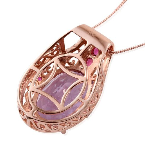 Limited Edition - Designer Inspired - AAA Rose De France Amethyst (Ovl 10.50 Ct), African Ruby Pendant With Chain in Rose Gold Overlay Sterling Silver 10.945 Ct.