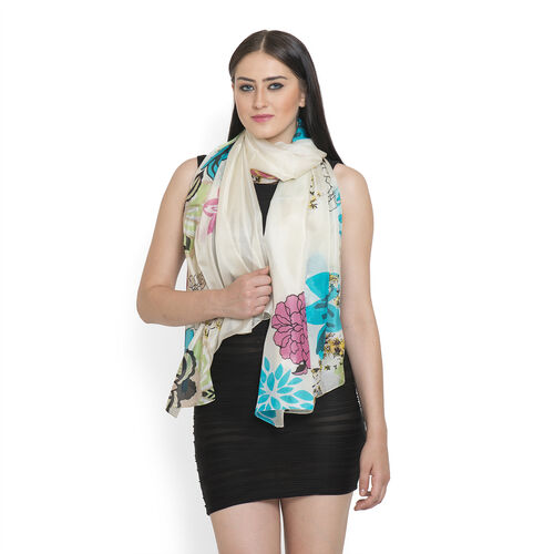 100% Mulberry Silk Light Blue and Multi Colour Floral Pattern Cream Colour Scarf (Size 180x100 Cm)
