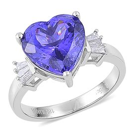 ILIANA 18K White Gold AAAA Tanzanite (Hrt 6.25 Ct), Diamond (SI/G-H) Ring 6.500 Ct.