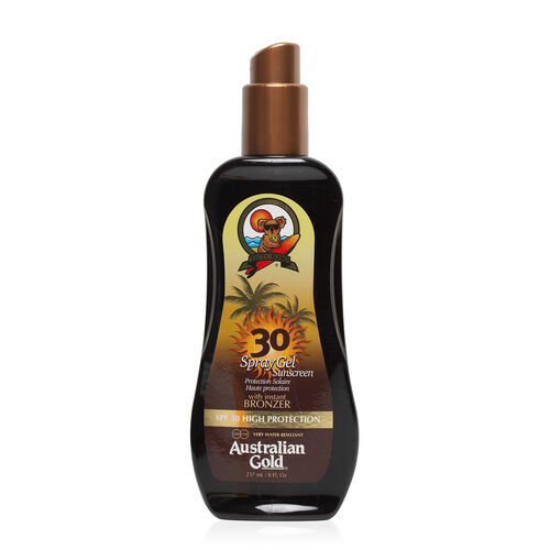 AUSTRALIAN GOLD-SPF 30 Spray Gel W-Bronzer 237ml (Delivery 4 to 6 Working Days)