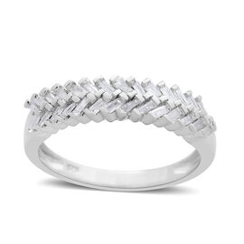 Fire Cracker Diamond (Bgt) Half Eternity Ring in Platinum Overlay Sterling Silver 0.330 Ct.