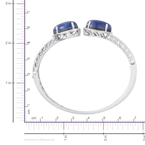 Lapis Lazuli (Pear), Diamond Bangle (Size 7.5) in Platinum Overlay Sterling Silver 20.550 Ct.
