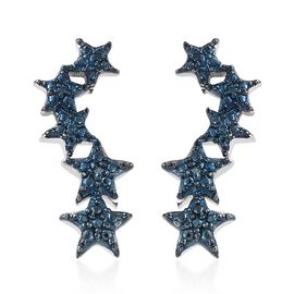 Designer Inspired- Blue Diamond (Rnd) Star Earrings (with Push Back) in Platinum Overlay Sterling Silver