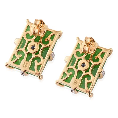 GP Green Jade (Bgt), Kanchanaburi Blue Sapphire Earrings (with Push Back) in 14K Gold Overlay Sterling Silver 33.500 Ct.