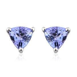 AA Tanzanite Stud Earrings (with Push Back) in 9K White Gold  1.25 Ct
