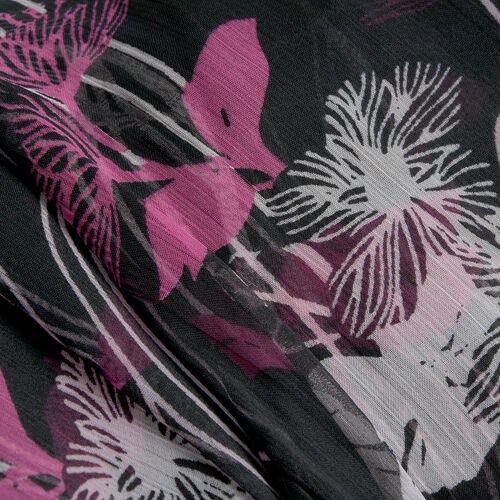 Black, Pink and Multi Colour Floral Printed Tunic (Size 65X50 Cm)