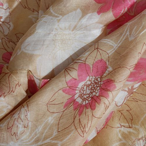 100% Mulberry Silk Pink, White and Beige Colour Scarf (Size 180X50 Cm)