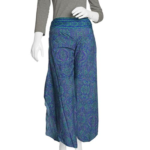 Purple, Blue and Multi Colour Floral and Paisley Pattern Palazzo Trouser (Free Size)