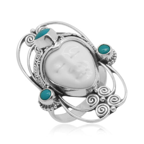 Princess Bali Collection OX Bone Carved Face (Ovl 8.00 Ct) and Arizona Sleeping Beauty Turquoise Ring in Sterling Silver 9.300 Ct.