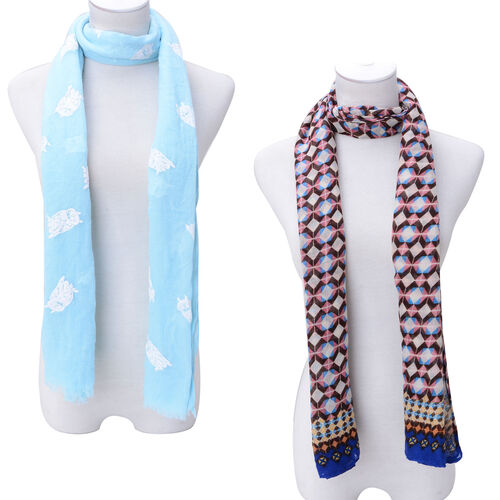 Set of 2 - Multi Colour Diamond Pattern and White Colour Owl Pattern Light Blue Colour Scarf with a Hanger (Size 175x90 Cm)