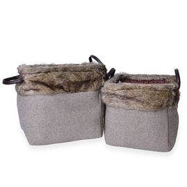 Set of 2 - 70% Cotton Dark Grey Colour Multi Purpose Faux Fur Basket with Faux Leather Handles (Size Small 26X26X26 Cm and Large 31X31X31 Cm)