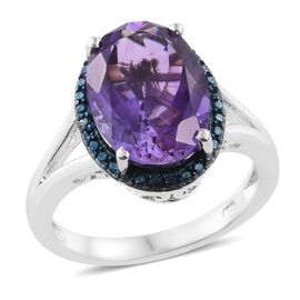 Moroccan Amethyst (Ovl) Blue Diamond Ring in Platinum Overlay Sterling Silver 6.250 Ct.