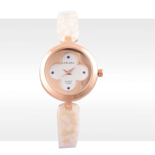 STRADA Japanese Movement Blue Austrian Crystal Studded White Dial Watch in Rose Gold Tone with Stainless Steel Back and White Colour Strap