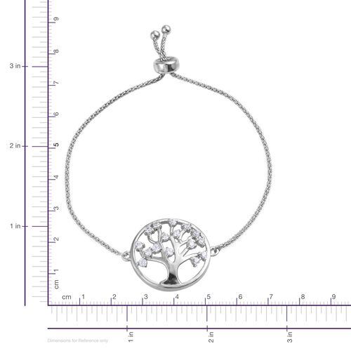 J Francis - Platinum Overlay Sterling Silver (Rnd) Family Tree of Life Adjustable Bracelet (Size 7.5) Made with SWAROVSKI ZIRCONIA