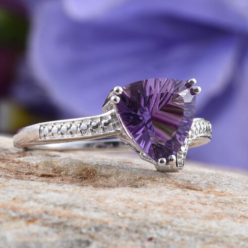 AA Brazilian Amethyst (Trl) Solitaire Ring in Platinum Overlay Sterling Silver 2.000 Ct.