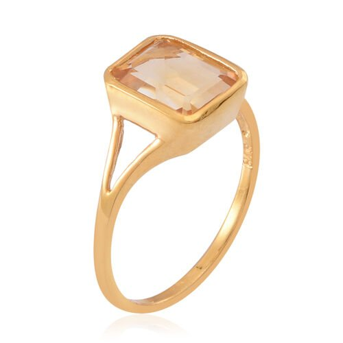 Citrine (Oct) Solitaire Ring in 14K Gold Overlay Sterling Silver 3.000 Ct.