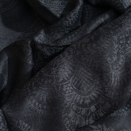 Damask Pattern Dark Grey Colour Jacquard Scarf with Tassels (Size 180x70 Cm)