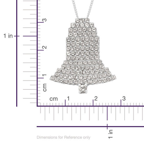 J Francis Made with Swarovski Crystal - White Crystal (Rnd) Bell Pendant With Chain in Platinum Overlay Sterling Silver 1.350 Ct.