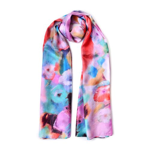 100% Mulberry Silk Purple, Red and Multi Colour Floral Pattern Scarf (Size 180X110 Cm)