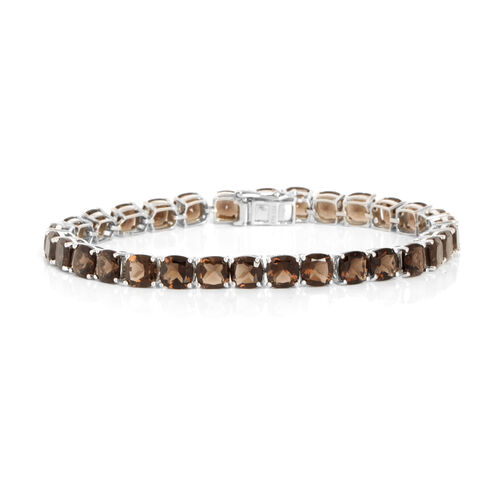Brazilian Smoky Quartz (Cush) Bracelet (Size 7.5) in Rhodium Plated Sterling Silver 25.090 Ct.
