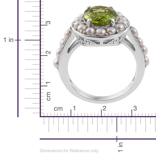 Designer Inspired - Hebei Peridot (Ovl 3.25 Ct), Fresh Water Pearl Ring in Platinum Overlay Sterling Silver 5.000 Ct.