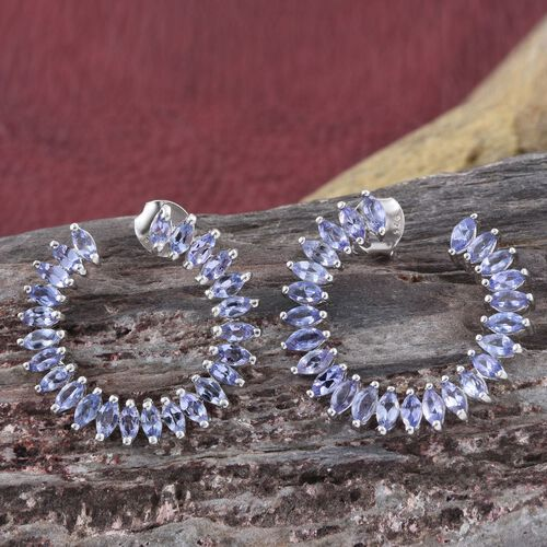 Tanzanite (Mrq) Earrings (with Push Back) in Platinum Overlay Sterling Silver 3.500 Ct. Silver wt. 5.13 Gms.