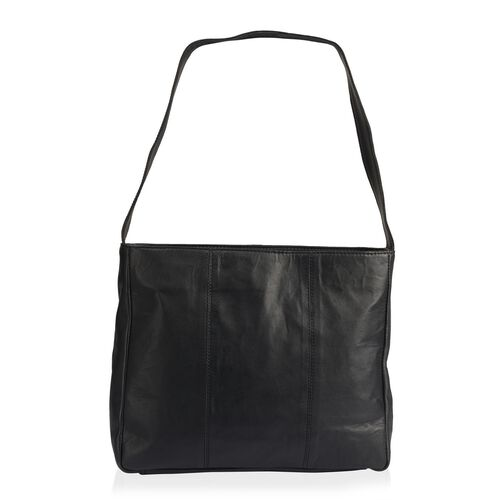 PREMIER COLLECTION - 100% Genuine Top Grain Leather RFID Blocker Black and White Colour Handbag with 100% Genuine Leather Clutch (Size 30X25X10 Cm) with Pouch (Size 24X13 Cm)