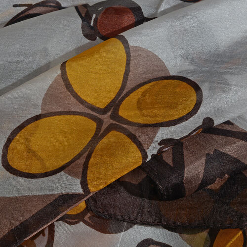 100% Mulberry Silk Chocolate, Yellow and Multi Colour Handscreen Floral Printed Scarf (Size 170X50 Cm)