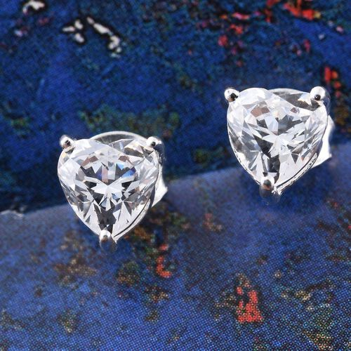 J Francis - Sterling Silver (Hrt) Stud Earrings (with Push Back) Made with SWAROVSKI ZIRCONIA