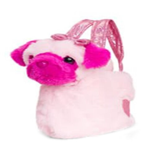 Keel Toys - Dog in a bag- Baby pink (Size 20 Cm)
