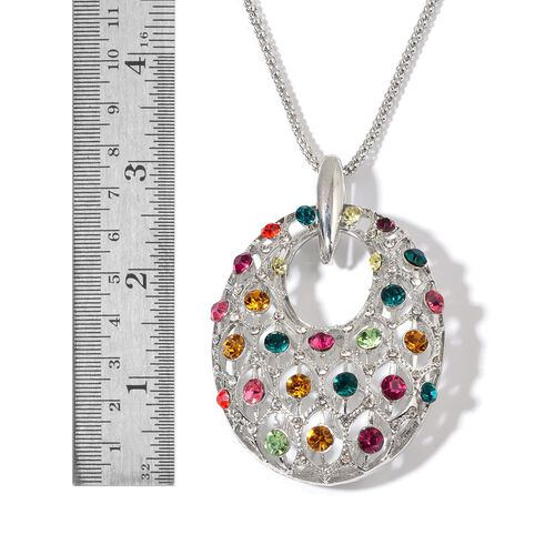 Multi Colour Austrian Crystal Pendant With Chain in Silver Tone