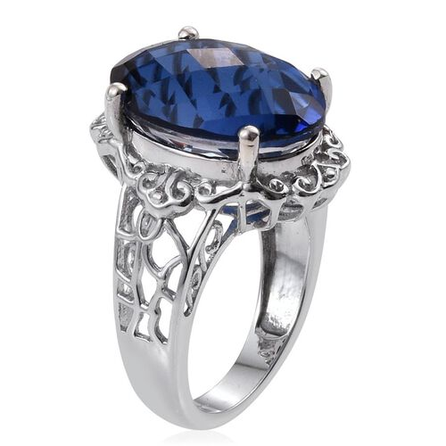 Checkerboard Cut Ceylon Colour Quartz (Ovl) Ring in Platinum Overlay Sterling Silver 13.250 Ct.