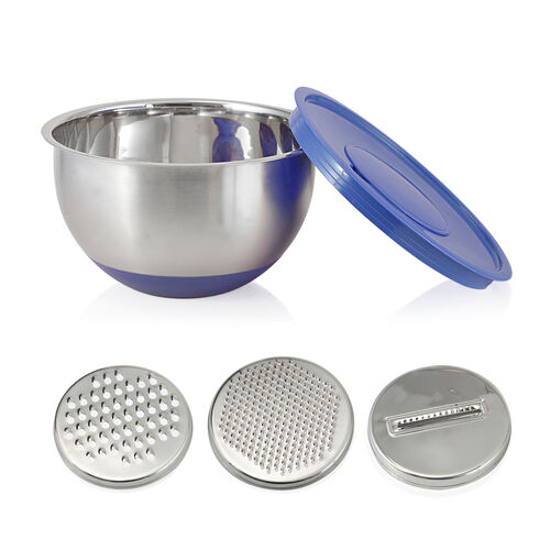 Kitchen Utensils - 1 Pc Splash Bowl, 3 Pcs Graters, 3 Pcs Mixing Bowls with Blue Lids, 4 Pcs Prep Bowls, 4 Pcs Measuring Cups, 4 Pcs Measuring Spoons, 1 Pc Whisk and 1 Pc Colander in Stainless Steel