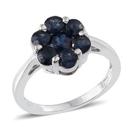 Kanchanaburi Blue Sapphire (1.75 Ct) Platinum Overlay Sterling Silver Ring  1.750  Ct.
