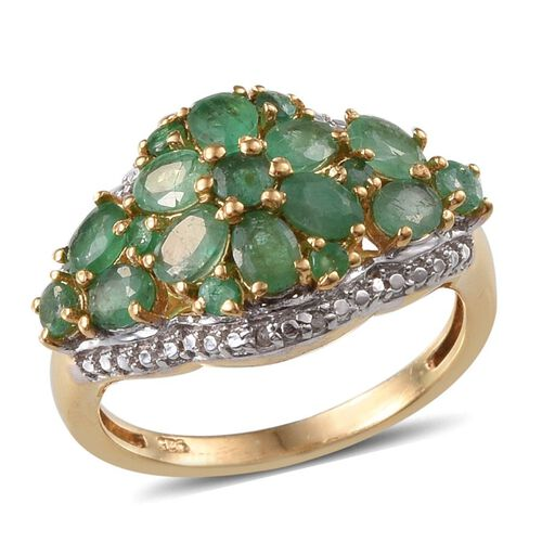 Kagem Zambian Emerald (Ovl), Diamond Ring in 14K Gold Overlay Sterling Silver 1.920 Ct.
