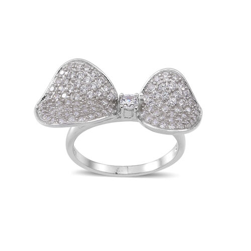 ELANZA AAA Simulated White Diamond (Rnd) Bow Ring in Rhodium Plated Sterling Silver