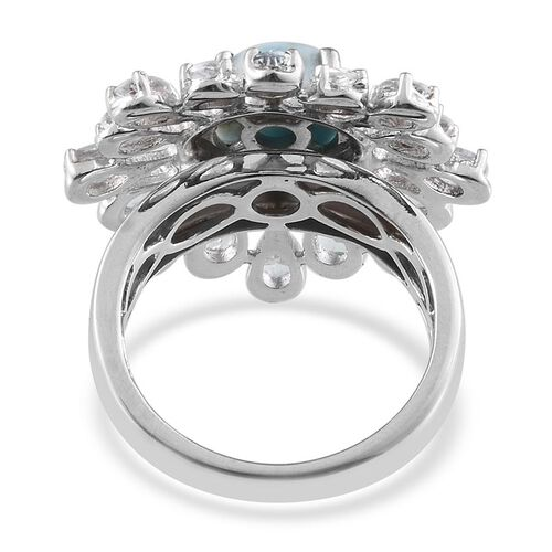 GP Larimar (Rnd 2.50 Ct), Espirito Santo Aquamarine, Kanchanaburi Blue Sapphire and Natural Cambodian Zircon Ring in Platinum Overlay Sterling Silver 5.280 Ct.
