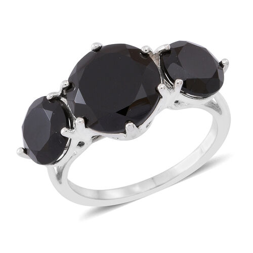 Boi Ploi Black Spinel (Rnd 5.50 Ct) 3 Stone Ring in Sterling Silver 7.750 Ct.