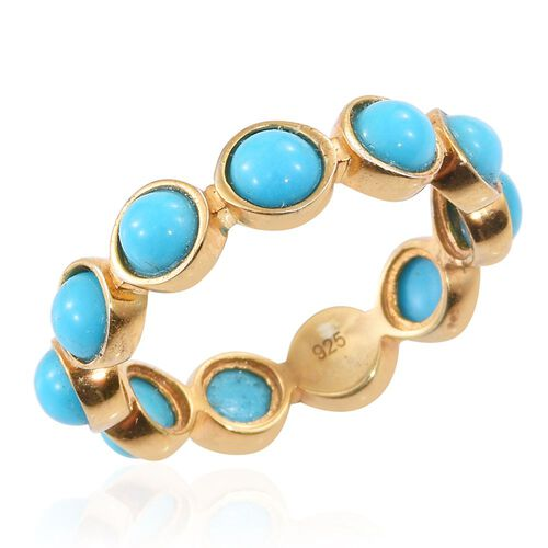 Arizona Sleeping Beauty Turquoise (Rnd) Full Eternity Ring in 14K Gold Overlay Sterling Silver 3.500 Ct.