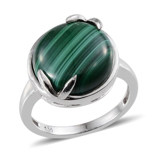 Malachite (Rnd) Solitaire Ring in ION Plated Platinum Bond 12.500 Ct.