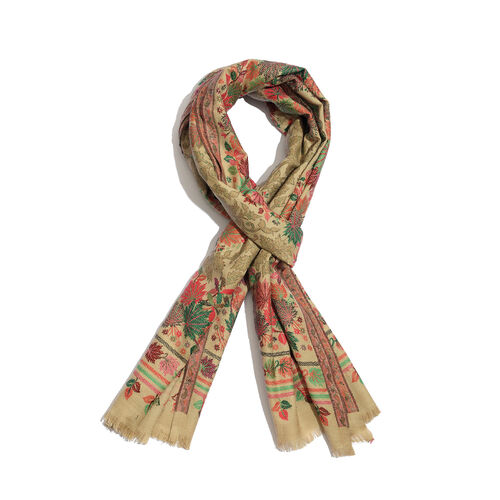 100% Merino Wool Multi Colour Leaves Pattern Beige Colour Scarf (Size 200x70 Cm)
