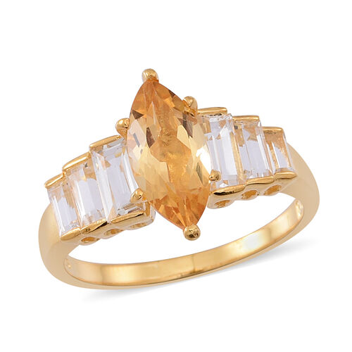 Citrine (Mrq 1.50 Ct), White Topaz Ring in 14K Gold Overlay Sterling Silver 2.750 Ct.